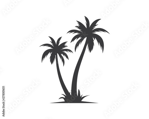 Obraz Palm tree icon of summer and travel logo vector illustration - fototapety do salonu
