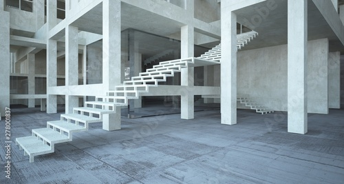 Abstract architectural brown and beige concrete interior of a minimalist house with white background . 3D illustration and rendering