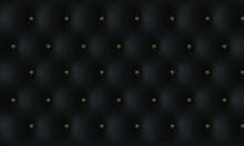 Decorative Upholstery Soft Gloss Quilted Background. Black Leather Vintage Luxury Texture With Buttons