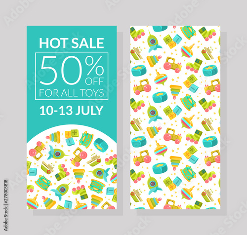 Stampa su Tela Hot Sale Banner Template, 50 Percent Off for All Toys, Design Element with Child