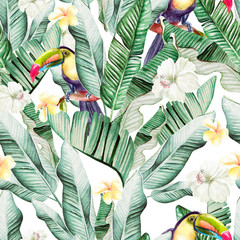 Fototapeta Do sypialni Beautiful watercolor seamless pattern with tropical leaves and banana leaves, tukan birds and hibiscus flowers.