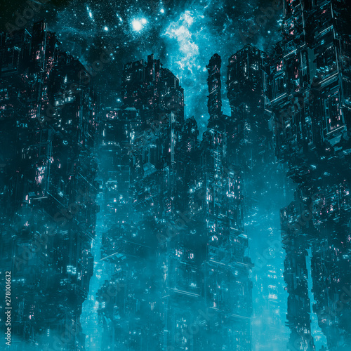 Cyberpunk metropolis night / 3D illustration of dark futuristic science fiction Wallpaper Mural