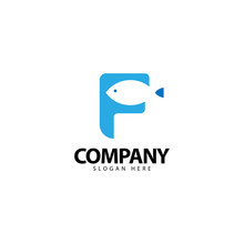 Letter F Logo With Fish Icon