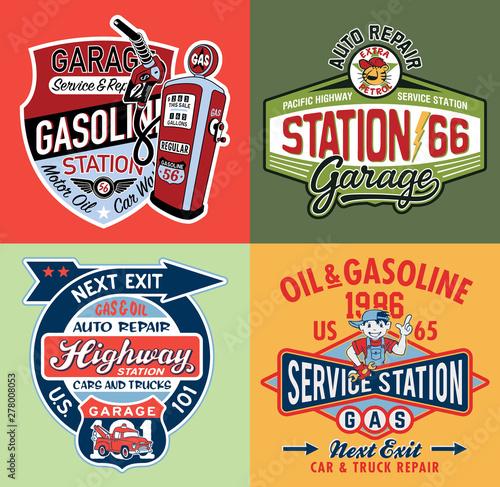 Fotografia Kid gasoline service station cute vintage vector artwork collection  for childre