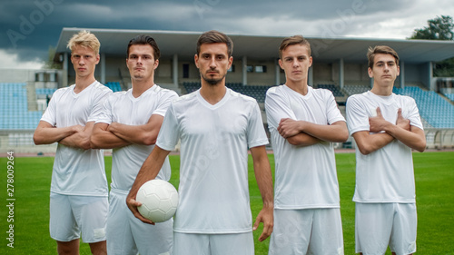 Fotografie, Obraz  Professional Soccer Players Team Posing for a Group Photo Standing on a Football Field