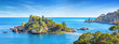 Leinwandbild Motiv Panoramic view of beautiful Isola Bella, small island near Taormina, Sicily, Italy