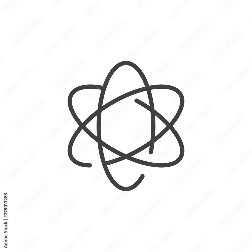 Fototapeta Atom line icon. linear style sign for mobile concept and web design. Atomic nucleus outline vector icon. Symbol, logo illustration. Vector graphics