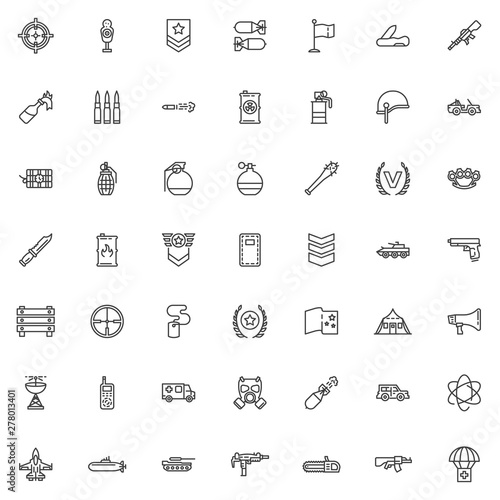 Military theme line icons set  linear style symbols collection