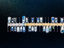 Aerial View Of Boats, Yachts, Water Bike And Wooden Sauna In A Marina In Finland