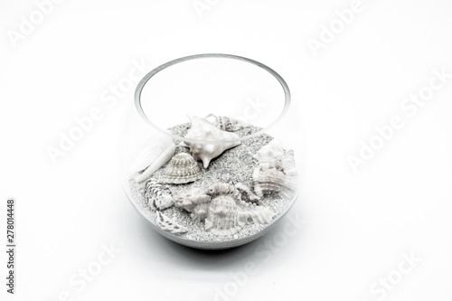 Fotografie, Obraz  shells with sand in a glass bowl