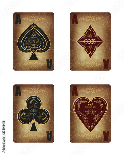 Photo Collection of four aces in vintage style.