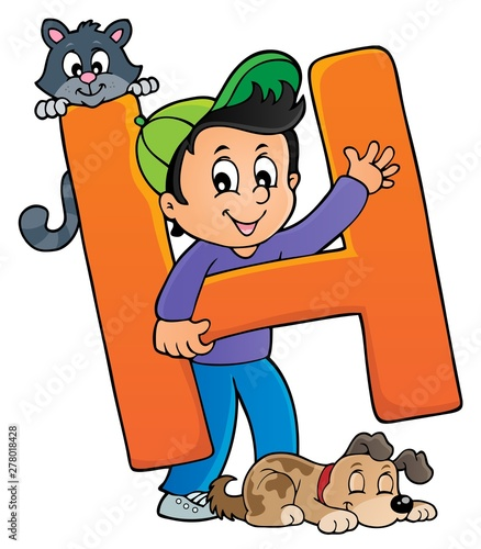 Fotobehang Voor kinderen Boy and pets with letter H