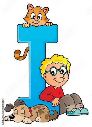 Fotobehang Voor kinderen Boy and pets with letter I