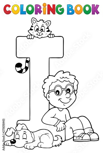 Fotobehang Voor kinderen Coloring book boy and pets by letter I