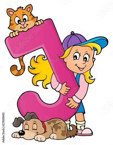 Fotobehang Voor kinderen Girl and pets with letter J