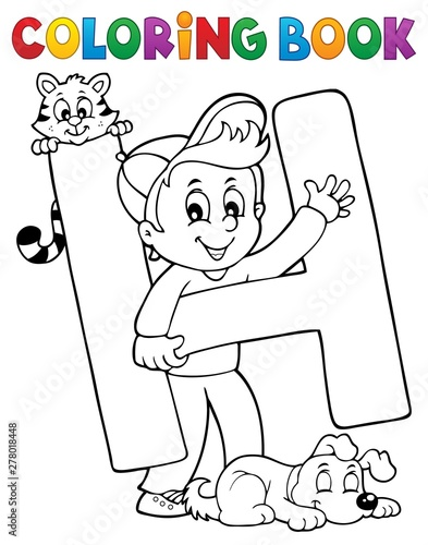 Fotobehang Voor kinderen Coloring book boy and pets by letter H