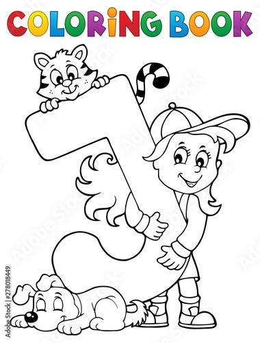 Fotobehang Voor kinderen Coloring book girl and pets by letter J