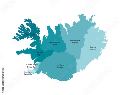 Vector isolated illustration of simplified administrative map of Iceland Canvas Print