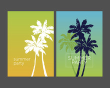 Retro Style Tropical Palm Silhouette Poster Set