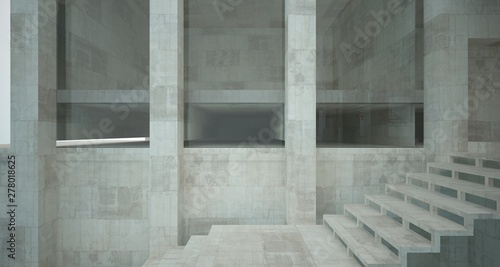 Abstract architectural concrete interior of a minimalist house standing in the water. 3D illustration and rendering.