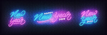 New Year Neon Set. Glowing Neon Lettering Template For New Year 2020 Celebration