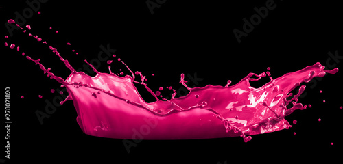 pink paint splash isolated on black background