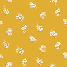 Flowers Daisy Vintage Colors Seamless Vector Pattern.