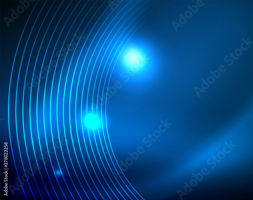 Obraz Blue neon circles, abstract circular lines. Glowing circle abstract pattern background - fototapety do salonu