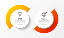 Infographic Design Template. Timeline Concept With 2 Steps