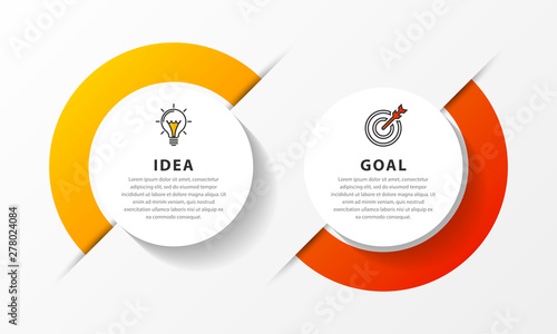 Photographie Infographic design template. Timeline concept with 2 steps