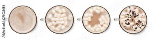 Set of hot cocoa in cup with marshmallows isolated on white background. Top view