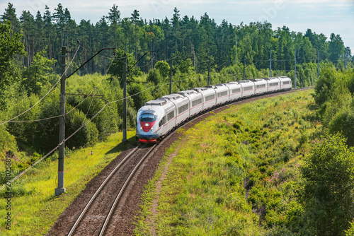 Canvas Prints Railroad Modern high-speed train approaches to the station at spring morning time.