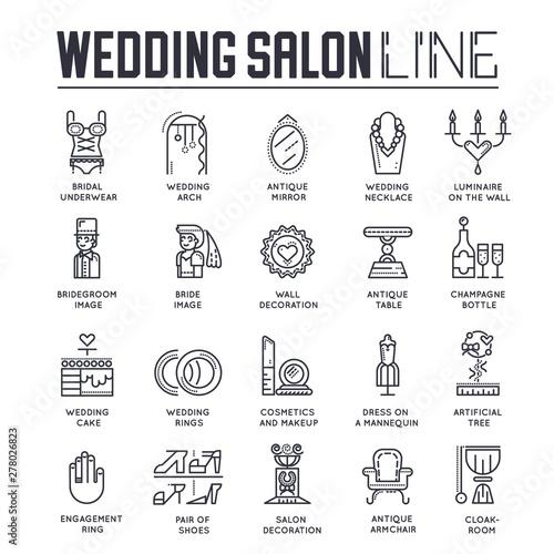Valokuvatapetti Set of wedding salon, preparation of marriage icons.