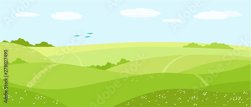 Summer nature, landscape. Field, green hills, blue sky with clouds, meadow with flowers. Vector illustration