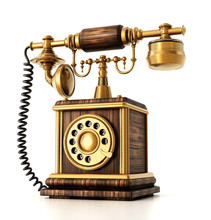 Old Telephone Isolated On Whit...