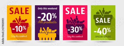 Fototapeta Set of poster for grocery store advertising events with shopping basket pictogram full of meal goods, simple mordern graphic leaflet with percentage discount up to 10, 20 and 30, 40 per cent obraz
