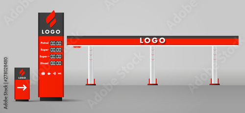 Photo  Detailed vector modern flat design illustration of the gas or petrol filling station