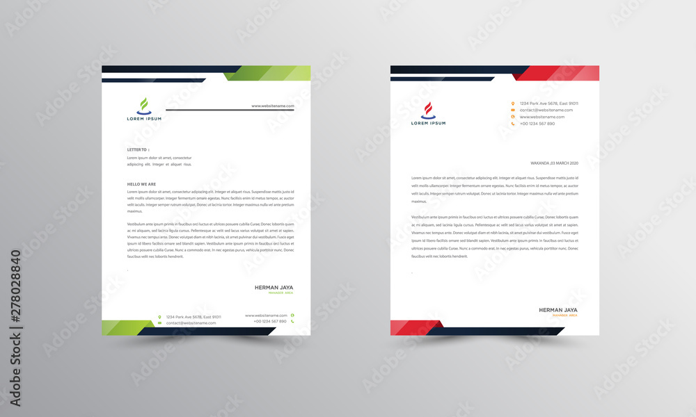 Fototapety, obrazy: Abtract Letterhead Design Modern Business Letterhead Design Template - vector