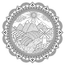 Doodle Pattern In Black And White. Landscape In Round Frame - Mountains, Rivers, Fields, Hills, Windmills, Sun And Cloud - Coloring Book For Children. Circular Ornament In Form Of Mandala.