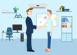 A man and a teenager shake hands .Office,room for work.Vector image.