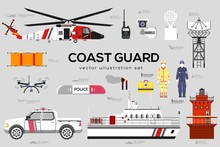 Coast Guard With Security Equipment And Team.
