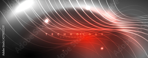 Photo  Shiny neon lights, dark abstract background with blurred magic neon light curved