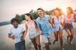 Group of friends enjoying beach vacation and having fun
