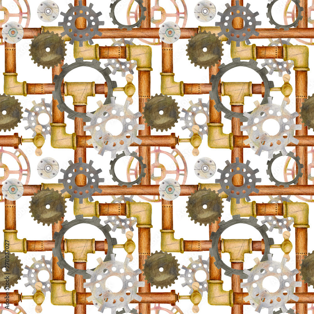 Steampunk seamless pattern with pipes, ventil, valve, gears. Hand drawn colored pencil illustration.