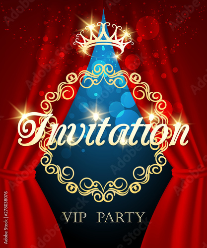 Fototapeta Luxury Invitation Card Vip Party Invite With Golden Crown And Red Curtains