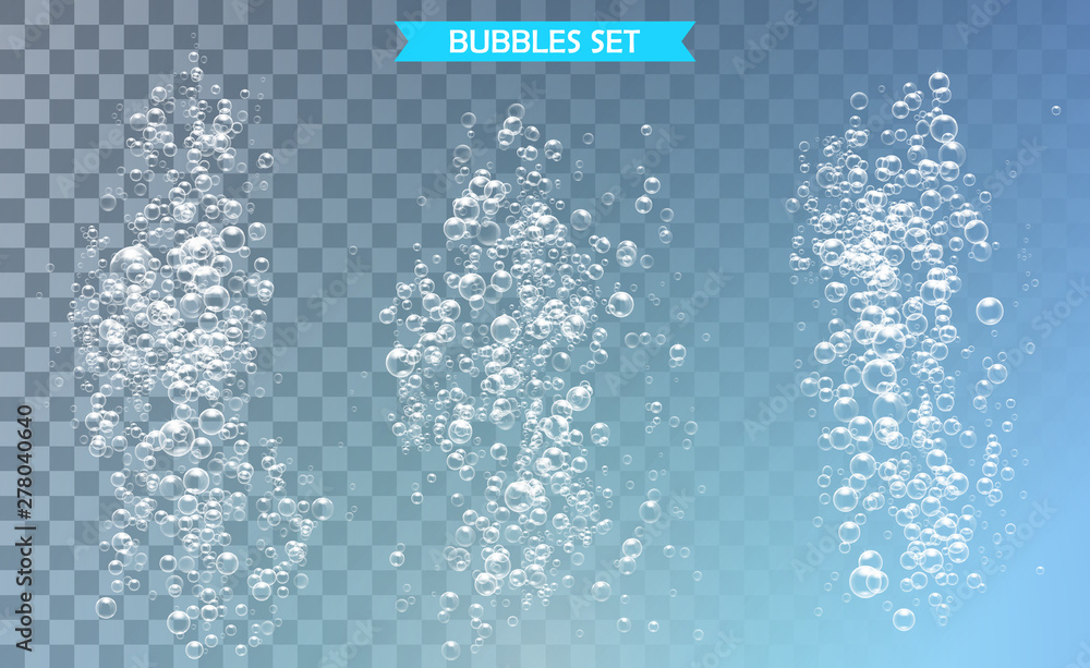 Fototapety, obrazy: Bubbles under water vector illustration on transparent background