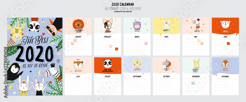 Fotografia, Obraz  Cute 2020 Calendar