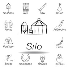 Silo Hand Draw Icon. Element Of Farming Illustration Icons. Signs And Symbols Can Be Used For Web, Logo, Mobile App, UI, UX