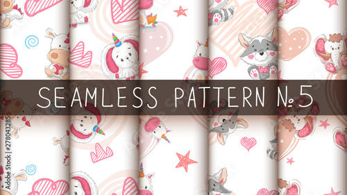 fototapeta na drzwi i meble Set cute teddy animals - seamless pattern