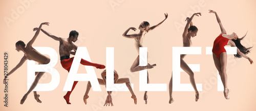 Canvas-taulu Young graceful ballet dancers with lettering